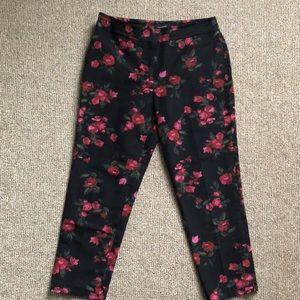 Talbots- Heritage crop pant black with roses.